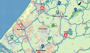 kaart vaarroute Rotte-Vliet
